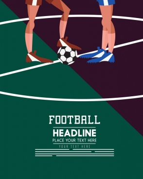 soccer banner player legs ball icons colored cartoon