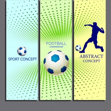 soccer banner sets 3d design player ball icons