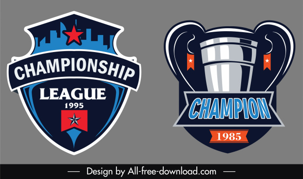 soccer champion logo template cup shield sketch