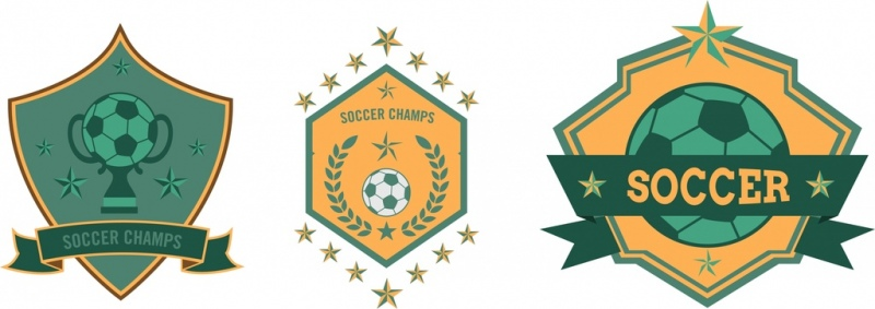 soccer club logo sets star ball ribbon decoration