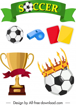 soccer design elements colorful object symbols sketch