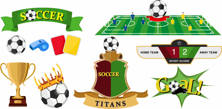 soccer design elements colorful symbols sketch
