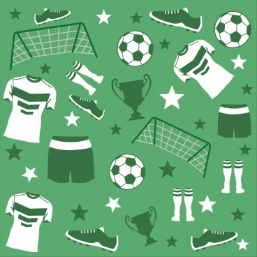 soccer design elements various flat symbols repeating design