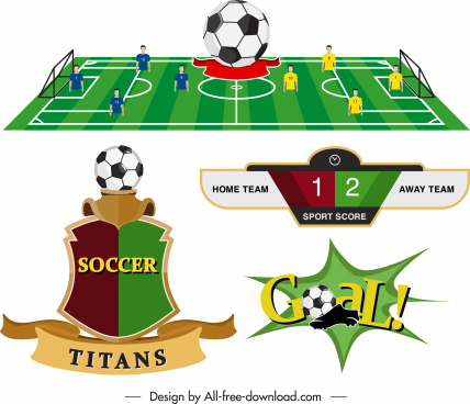 soccer game templates ground score goal insignia sketch