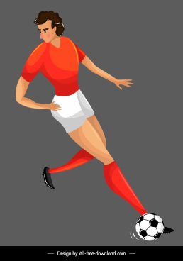 soccer player icon dribble sketch cartoon character