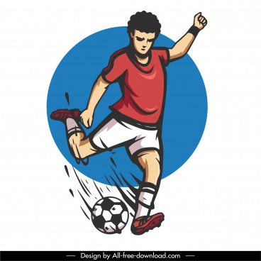soccer player icon dynamic design cartoon character sketch