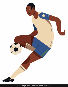 soccer player icon motion gesture cartoon character sketch