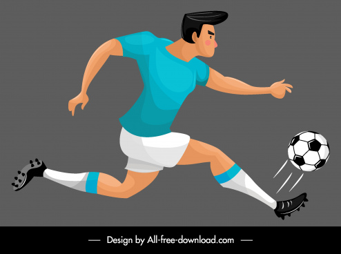 soccer player icon motion sketch cartoon character