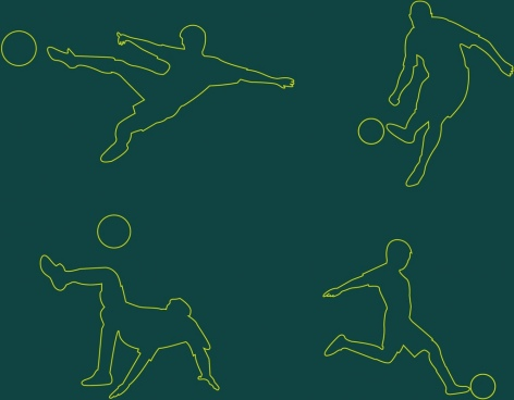 soccer player icons collection silhouette style design