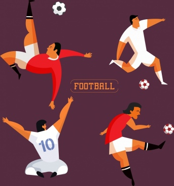 soccer player icons various gestures colored cartoon