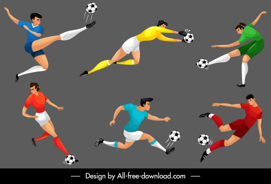 soccer players icons motion sketch cartoon characters