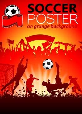 soccer poster grunge background vector
