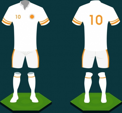 soccer uniform design white design 3d sketch style