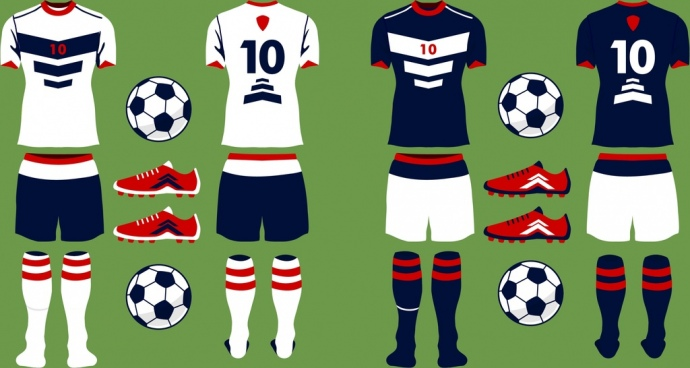 soccer uniform icons sets various colorful flat design