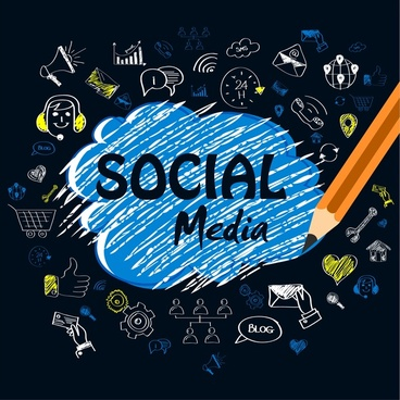 social media design elements hand drawn icons style