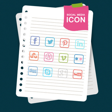 social media icons with notebook vector