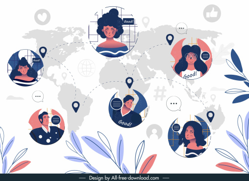social media network background human avatar global map