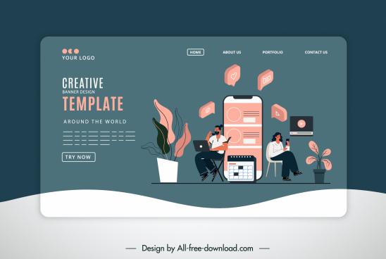 social media website template digital elements sketch