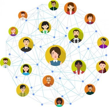 social network concept human icons connected in circle