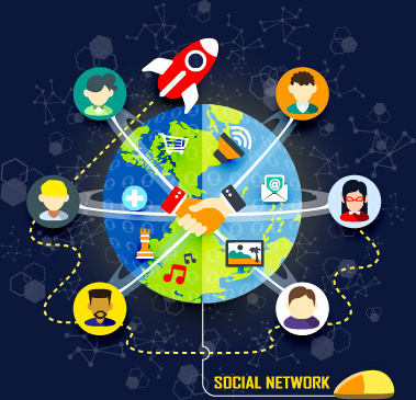 social network design elements vector