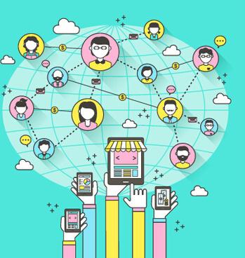 social network design elements vector