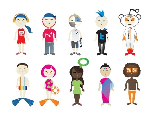 human icons design with various costume styles