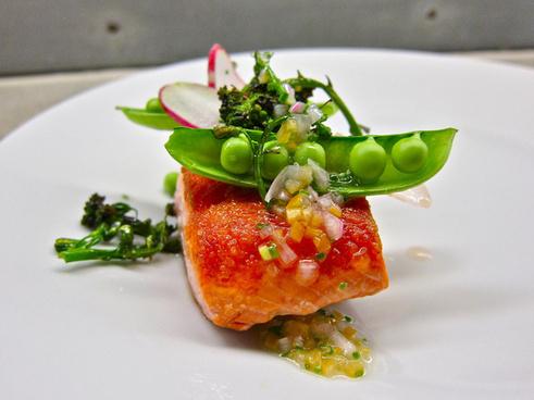 sockeye salmon broccolini raw pea shallot preserved lemon vinaigrette tarragon radish