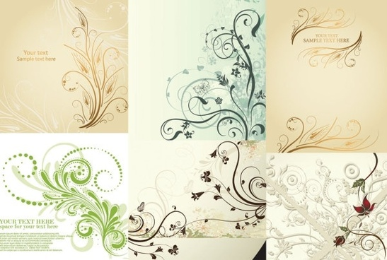 floral background sets classical curves design