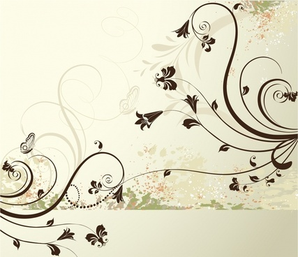 flora pattern classical grunge curves decor
