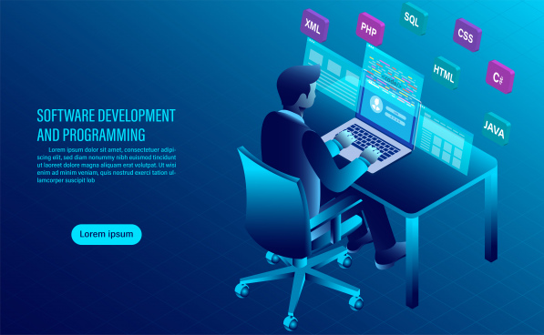 software development and coding programming of concept data processing computer code with window interface flat isometric illustration