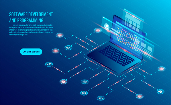 software development coding and business analysis programming of concept data processing computer code with window interface flat isometric illustration