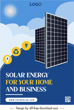 solar energy advertising poster sun batteries electrical elements