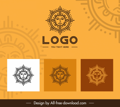 solar logo templates retro stylized flat symmetric sketch