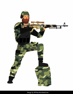 soldier icon colored cartoon character