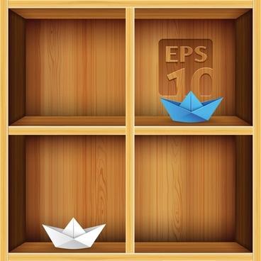 solid wood bookshelves vector 2
