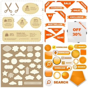 some useful web design decorative elements vector