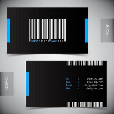 business card template dark design barcode decor