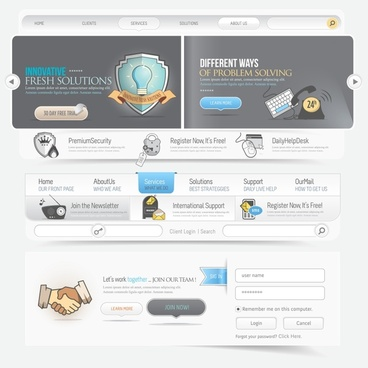 web site template modern design solution elements sketch