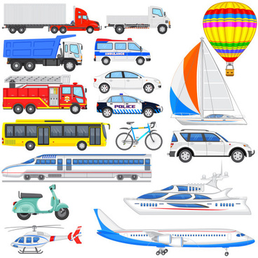 sorts transport tool set vector