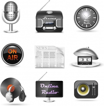audio broadcast icons shiny modern device objects sketch