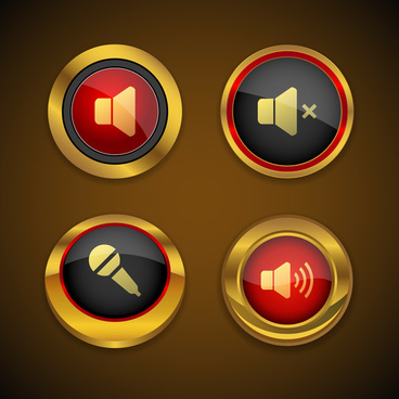 sound gold icon button