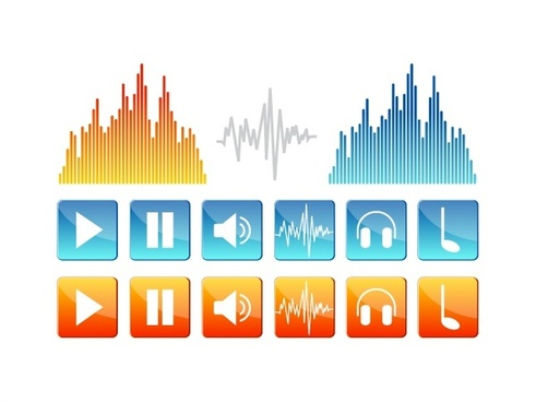 digital audio vector illustration with various ui shapes