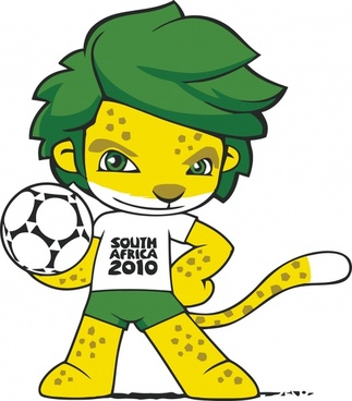 2010 world cup mascot icon colored cartoon character