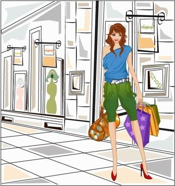 south korea shopping woman vector