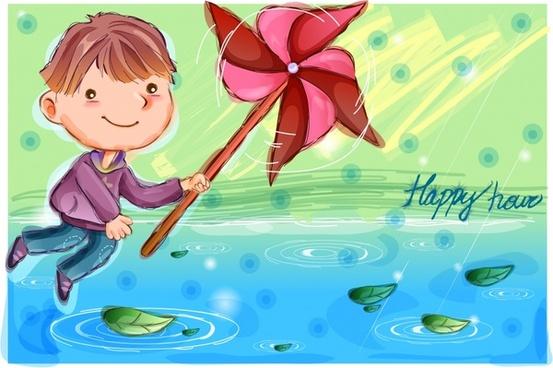 south korea vector illustrator of children