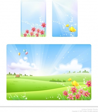 nature background sets flowers butterflies icons decor