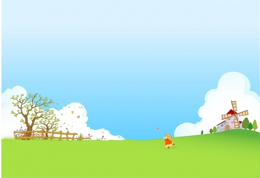 childhood background playful kid farmland icons cartoon design