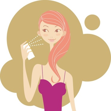comestic advertising background woman perfume icon cartoon character