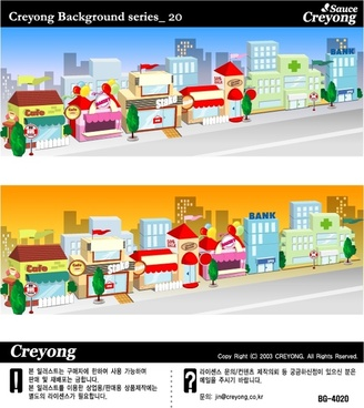 south korean city street vector