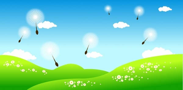 nature background hill floating dandelion icons colorful decor
